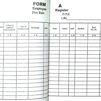 Form A Employee Register Account Book Rule 2(1) Under Various Contract Labour Law Rule 2017 – New