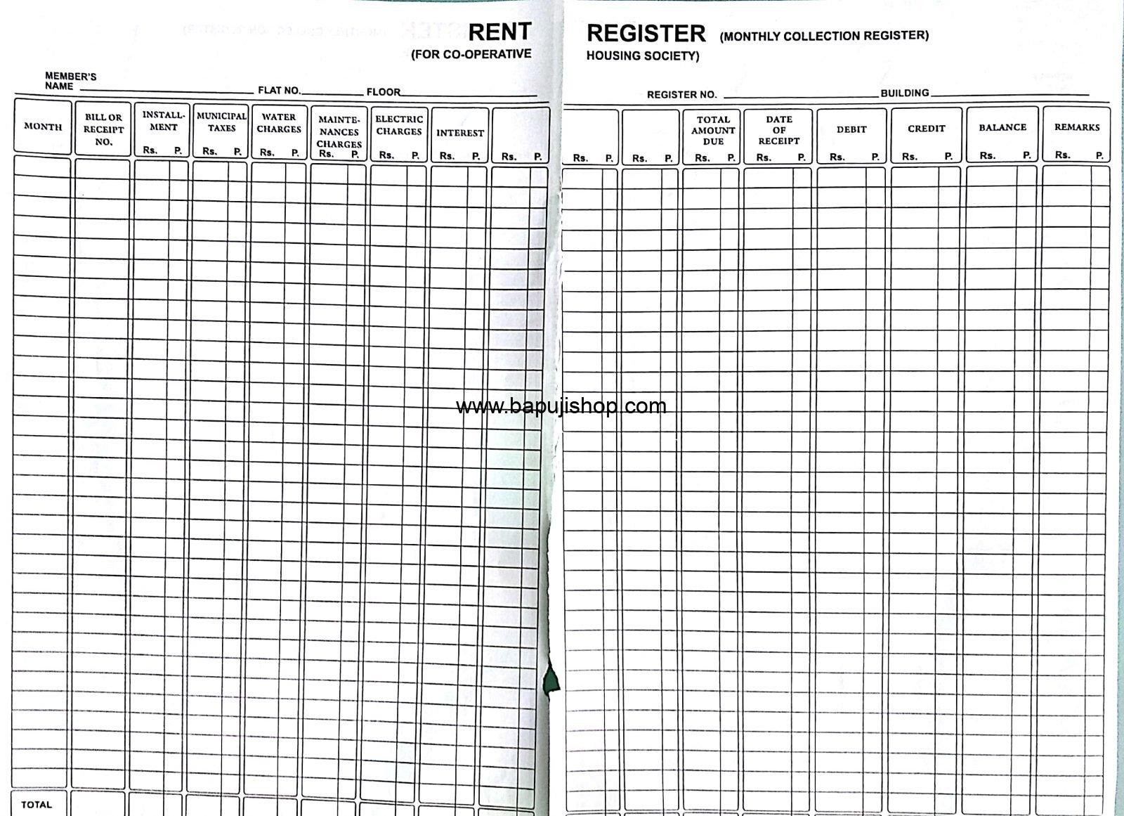 Rent Register for Co-Operative housing Society