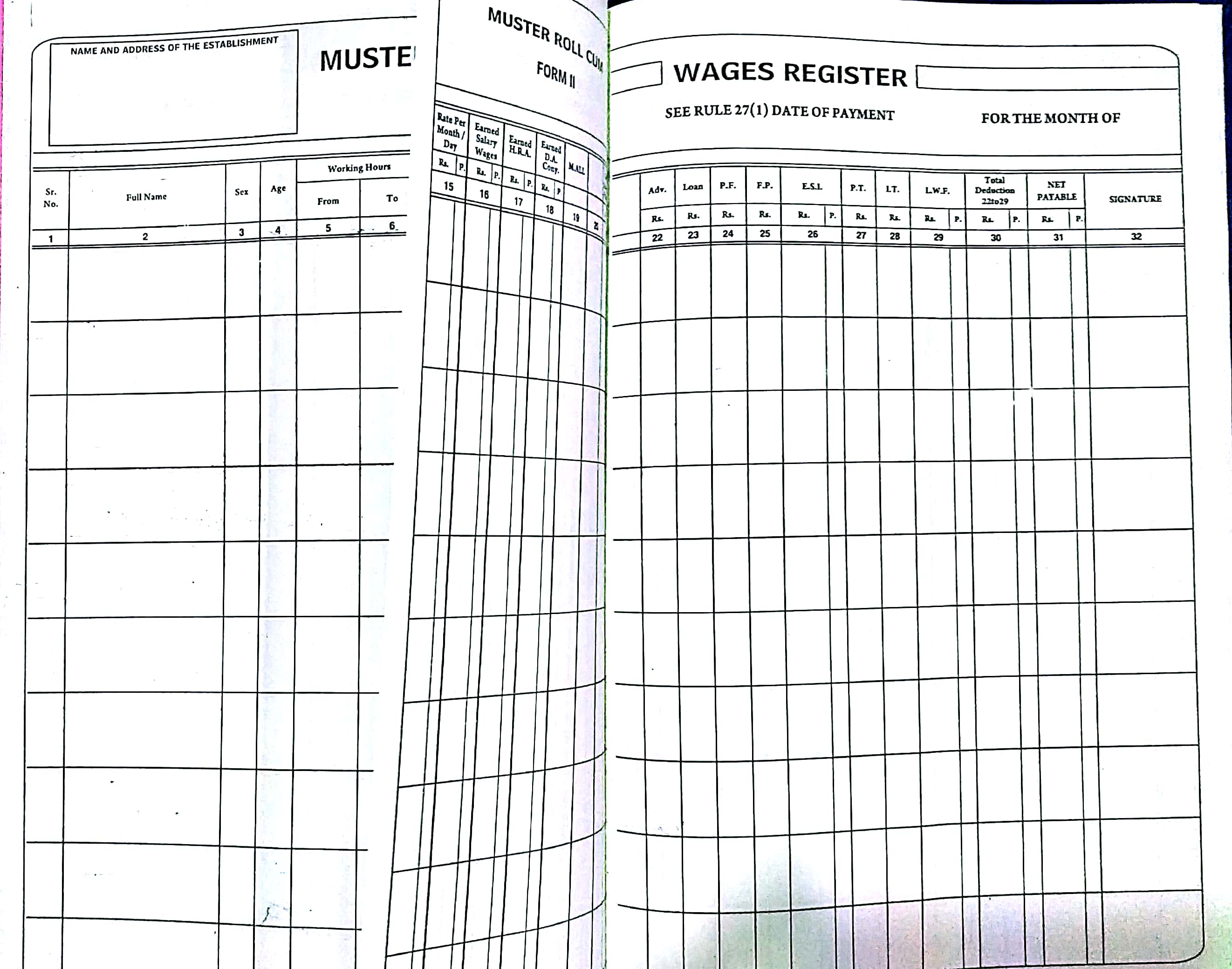 salary register muster wages