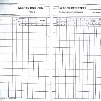 Muster cum Wage register 32 column under Shop and Factory Act