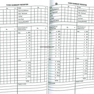 Cash Summary Register used for Banks