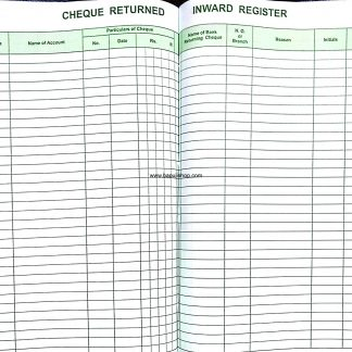 Cheque Returned Inward Register