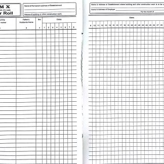 Muster Roll Form X Register Account Book Rule 54 (1) (a) for Building Construction Worker Rules