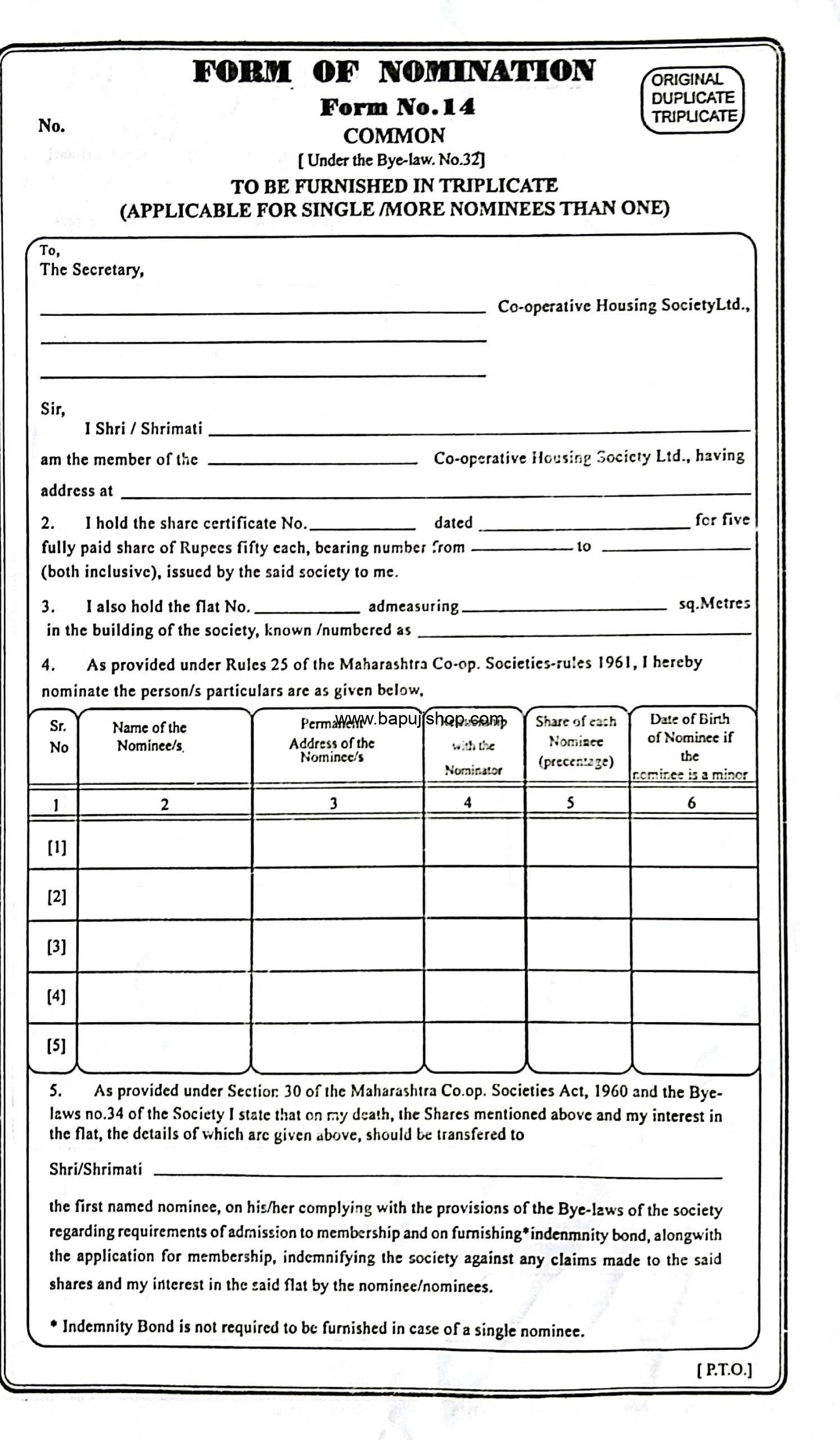 Form of Nomination No.14 Common under Bye-Law 32