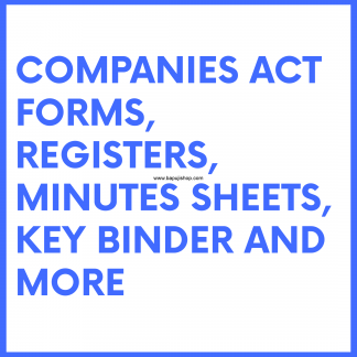 Companies Act Forms, Registers, Papers like Minutes book sheets, keybinders etc