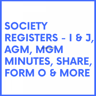 Society Maintenance Registers - For Housing and Credit Society, Federation, Unions, Trusts, NGOs like J form register, I form register etc